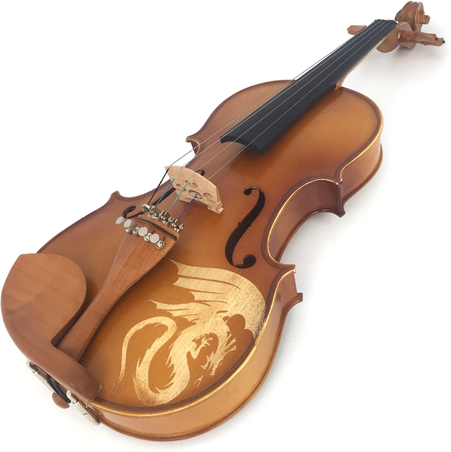 Kinglos 1//2 Flower Carved Ebony Fitted Solid Wood Violin Kit with Case DH003 Shoulder Rest Extra Bridge and Strings Rosin Bow