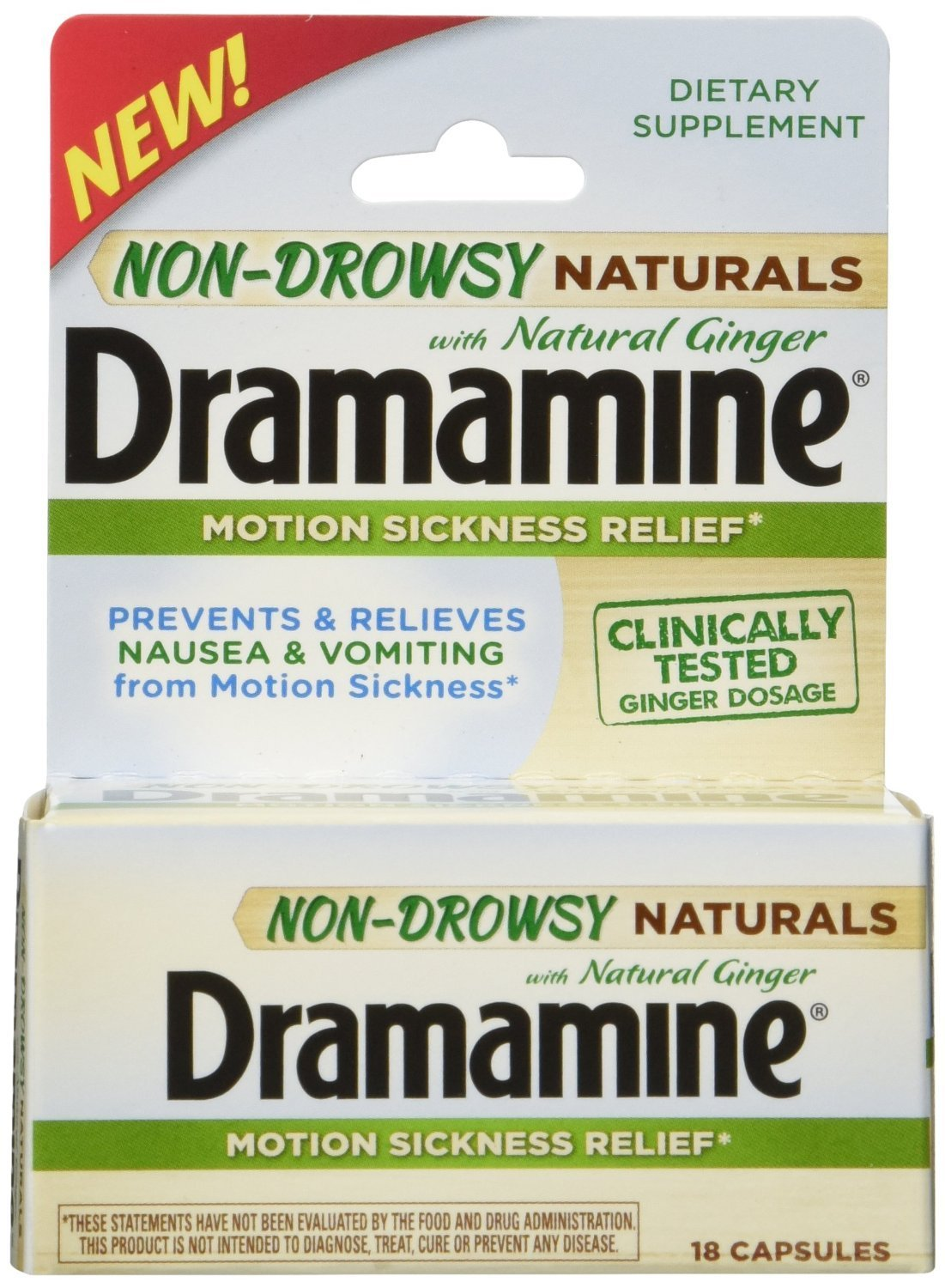 Dramamine Non-Drowsy Naturals with Natural Ginger, 18 Count (Pack of 2) by Dramamine