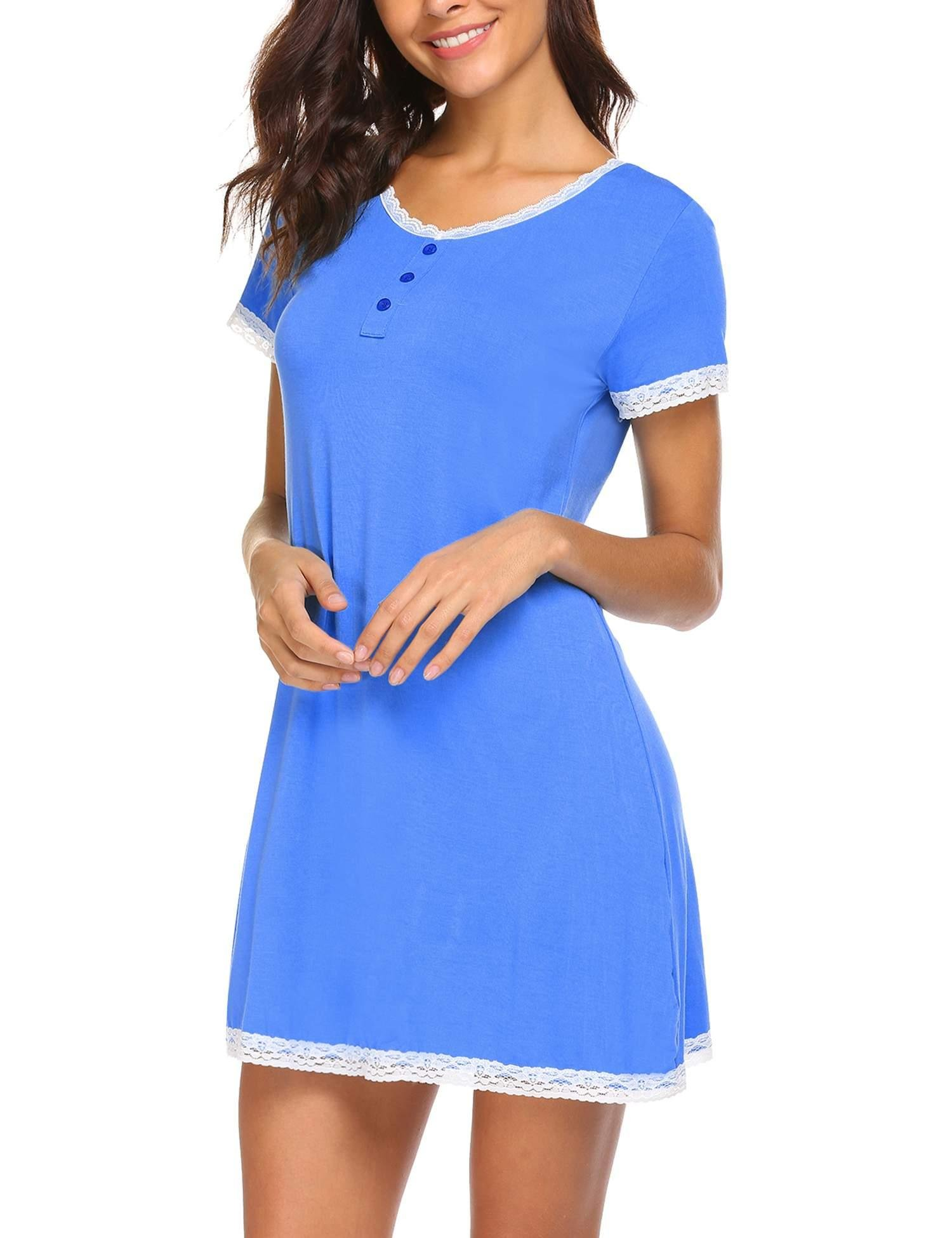 Ekouaer Nightgown Women¡¯s Henley Sleeveless Sleep Shirt Button Down Nightshirt Sleepwear (Blue XXL)