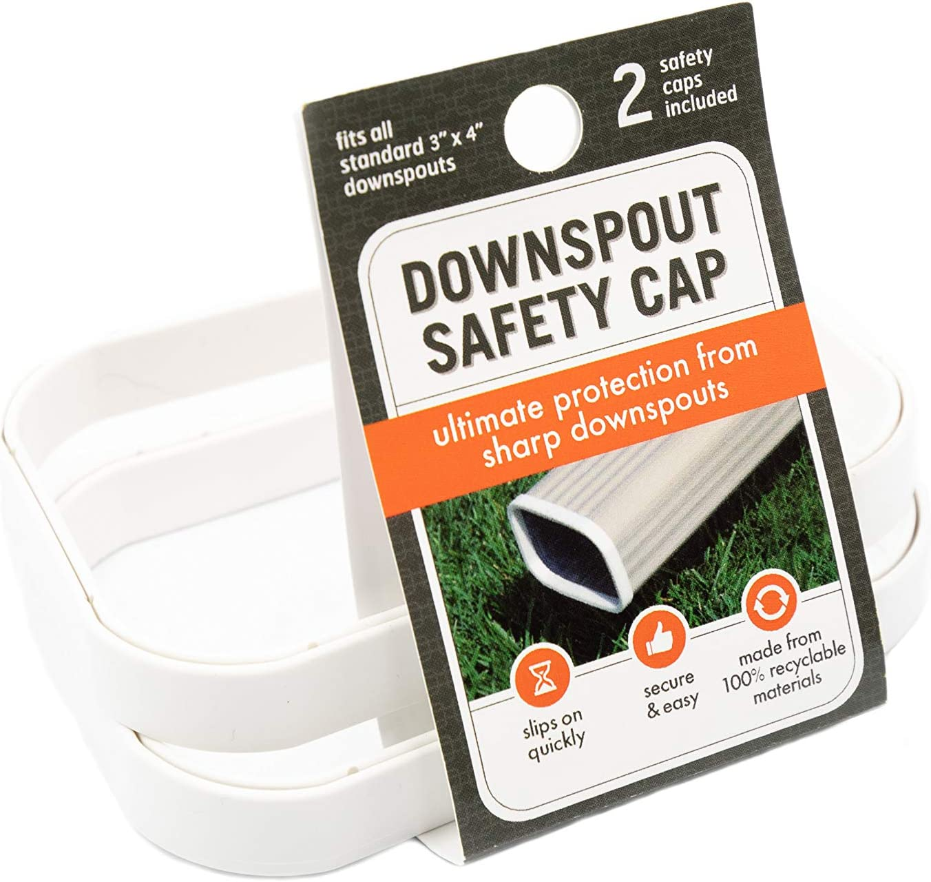 """Downspout Safety Cap   Gutter Downspout Protection for Adults, Kids and Pets   Protect from Gutter Downspout Extension Sharp Edges   3"""" x 4"""" Size Caps   2 Pack   White"""