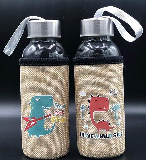 ML Pack de 2 Botella de Agua de Cristal con Funda, cantimplora a Prueba de Fugas