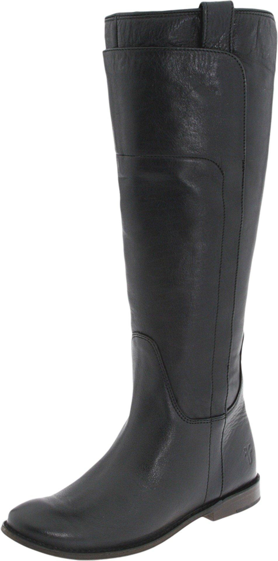 FRYE Women's Paige Tall Riding Boot, Black Calf Shine, 6 M US