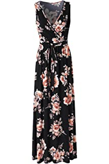 Zattcas Womens Casual V Neck Sleeveless Empire Waist Vintage Floral Maxi  Dress
