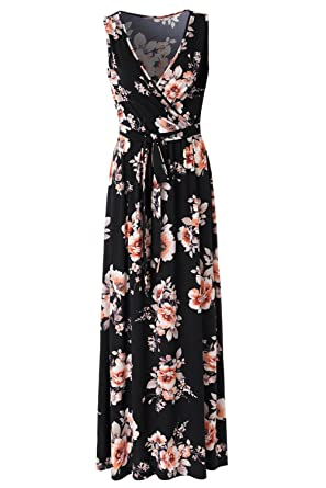 fcc5164548 Zattcas Womens V Neck Sleeveless Empire Waist Floral Maxi Dress,Black  Orange Printed,Small