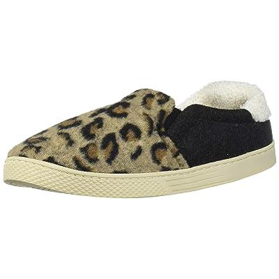 Dearfoams Women's Leopard and Microwool Twin Gore Closed Back Slipper   Shoes
