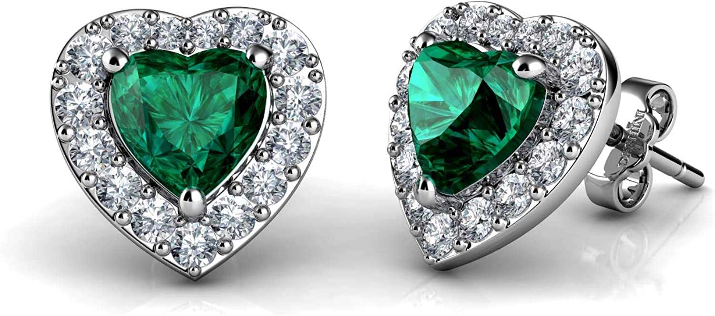 DEPHINI Pendientes de corazón verde de plata de ley 925 con colgante de circonita cúbica y piedra natal fina joyería para mujer chapada en rodio y circonita cúbica