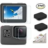 [2pcs] Deyard schermo ultra-trasparente temperato-protezione di vetro & Copriobiettivo Tappo per GoPro Hero 6 Hero 5 Action Camera