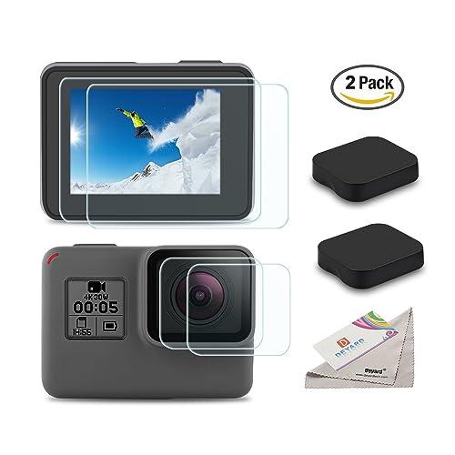 [6pcs] Deyard Ultra-Clear Tempered-Glass Screen Protector Lens Film & Lens Cap Cover for GoPro Hero (2018) GoPro Hero 6 Hero 5 Action Camera