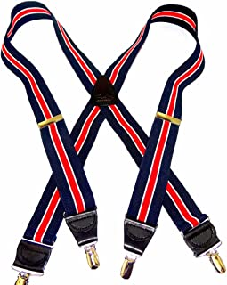 product image for HoldUp Navy & Red Stripe with Ivory accent stripe Suspenders in X-back Style with Patented No-slip Gold Tone Clips
