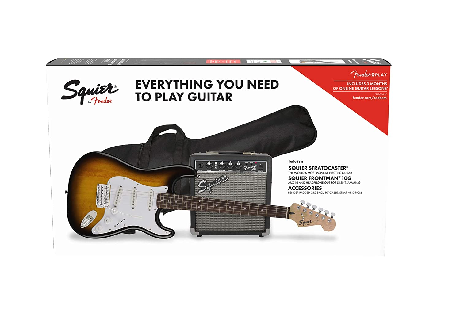 Fender Stratocaster Pack SSS Brown Sunburst + Frontman 10G + Funda + Accesorios: Amazon.es: Electrónica
