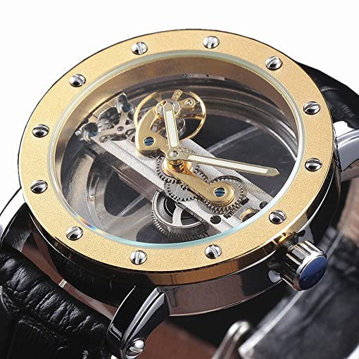 Forsining Gold Hollow Automatic Mechanical Watches Men Luxury Leather Strap Casual Vintage Skeleton Clock