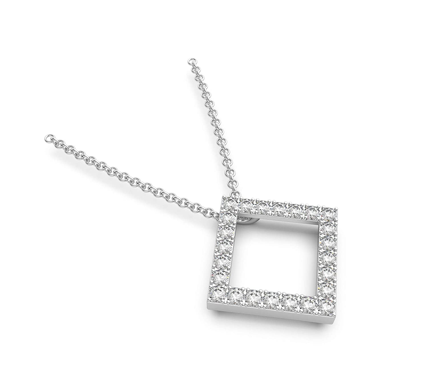 Frostrox Sterling Silver 0.24 Carat Round Cut Open Square Geometric Diamond Pendant