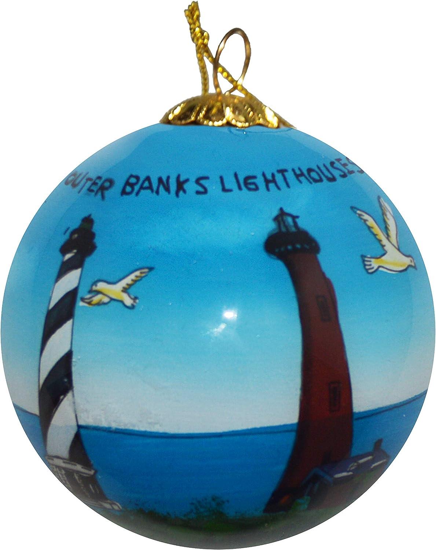 Art Studio Company Hand Painted Glass Christmas Ornament - Outer Banks Lighthouses