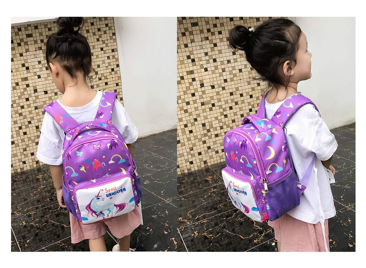 Fanovo Unicorn Backpack for Kids Nylon School Bag, Mini Unicorn Backpack, Cartoon Unicorn Kids Bags Kindergarten Backpack for 1-5 -Year-Old + 1 PC Unicorn Pencil Case + 5 PC Unicorn Hairties