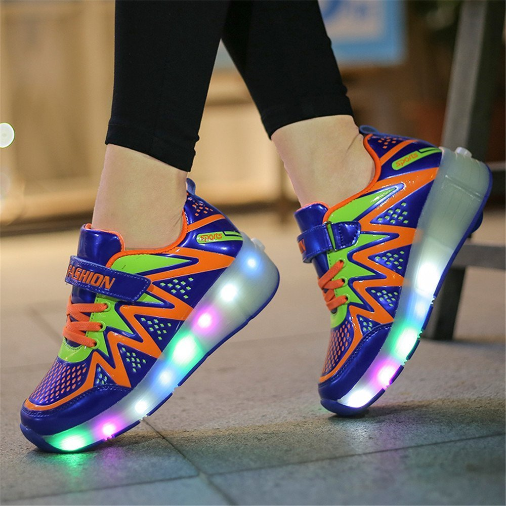 Believed 2017 New Boys Girls LED Light Up Pulley Sneakers with Wheels Kids Roller Skate Shoes