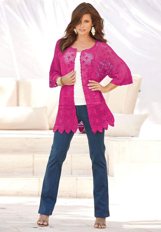 33bcdd7fe36a3 Roamans Women s Plus Size Scallop-Trim Crochet Cardigan at Amazon Women s  Clothing store