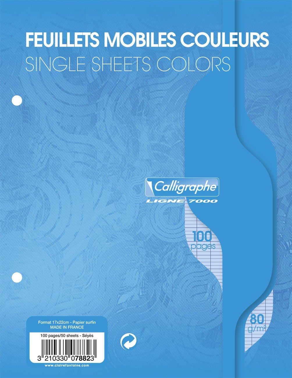 Clairefontaine 17 x 22 cm'azul papel' Seyes con rayas y 2 agujeros perforados hojas sueltas papel (paquete de 50 hojas) 7882C