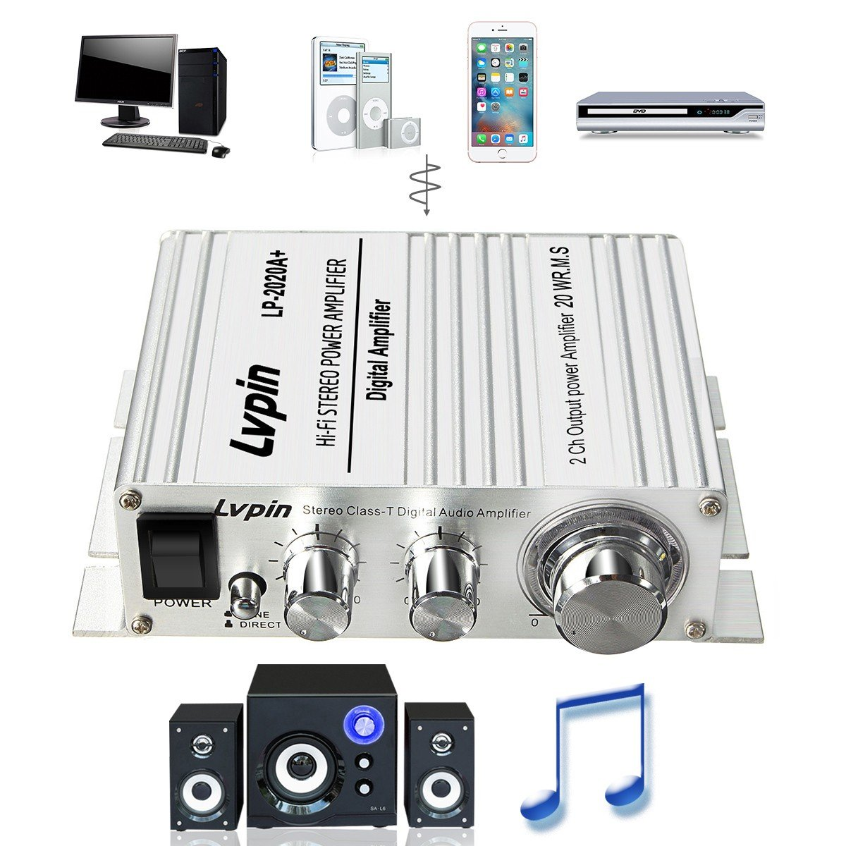 Mini Car Amplifier Elegiant Class T Super Bass Hi Fi Lepai Tripath Ta2020 Amp Hifi Stereo Audio Digital Booster With Power Supply Dc 12v 3a Sliver Home