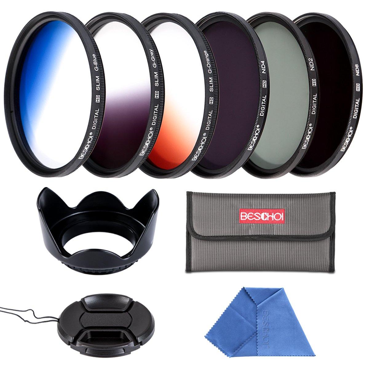Beschoi 58mm 6pcs High-Precision Slim Neutral Density Filter Lens Filter Kit ( UV + FLD + ND4 ) + Graduated Color Filter for Nikon Canon DSLR Cameras with Lens Hood + Lens Cap + Filter Pouch