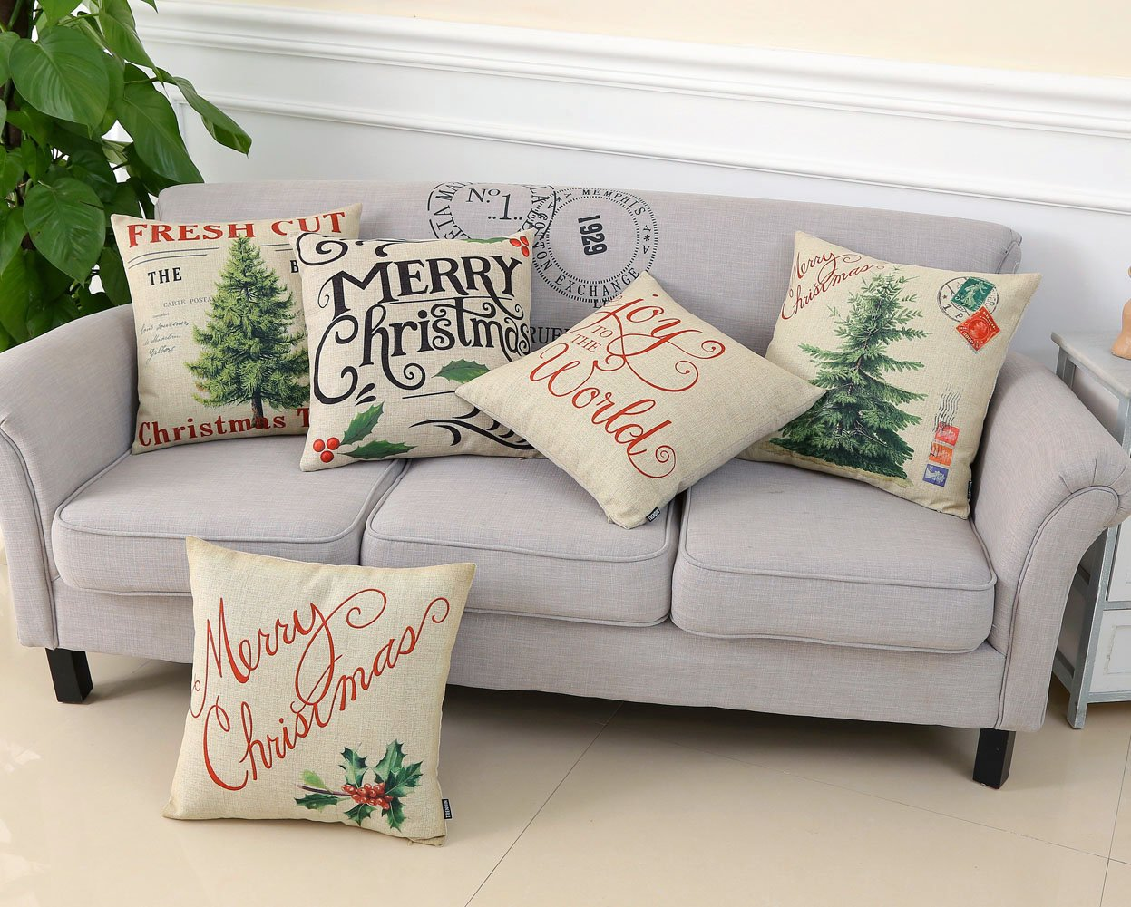 TRENDIN Merry Christmas Throw Pillow Cover Gifts Joy to the World Xmas Home Decor Design Cotton Linen 18 x 18 Cushion Cover for Sofa