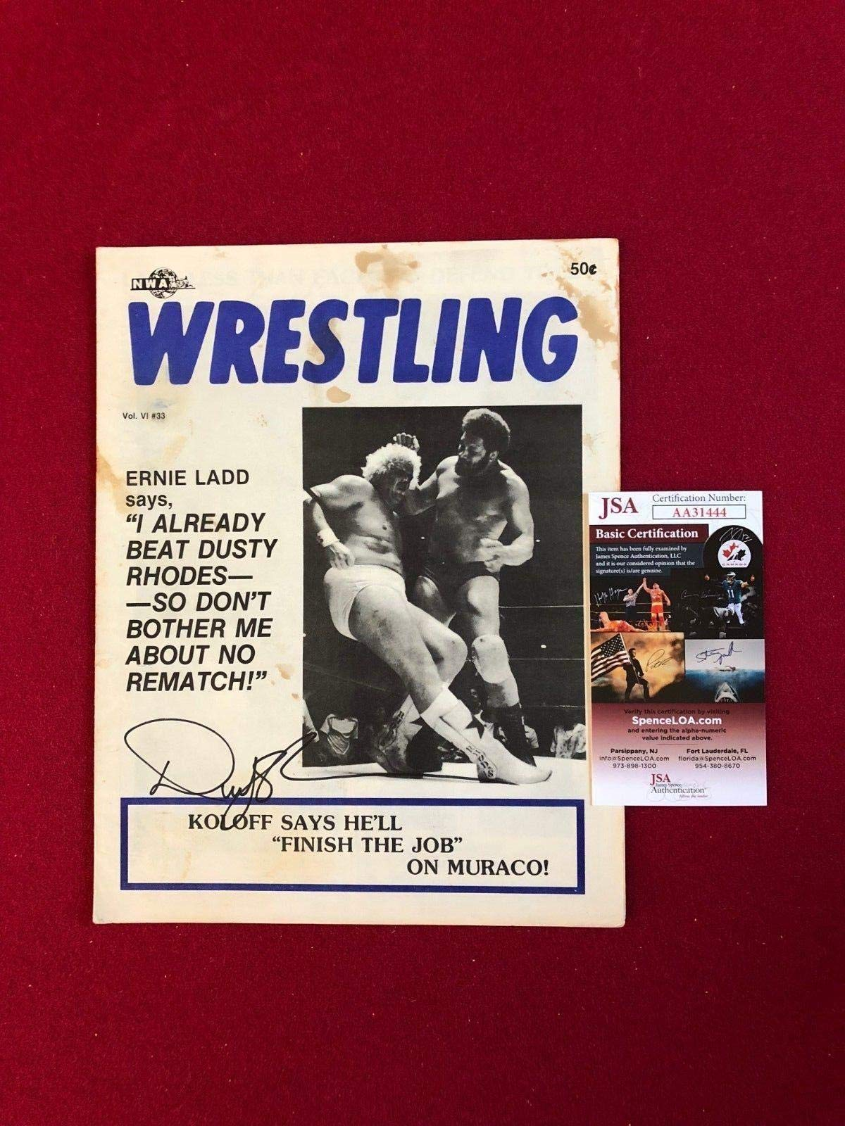 "1977,Dusty Rhodes,""Autographed""(),""Ft. Lauderdale Wrestling Program""(Scarce) JSA Certified Autographed MLB Magazines"