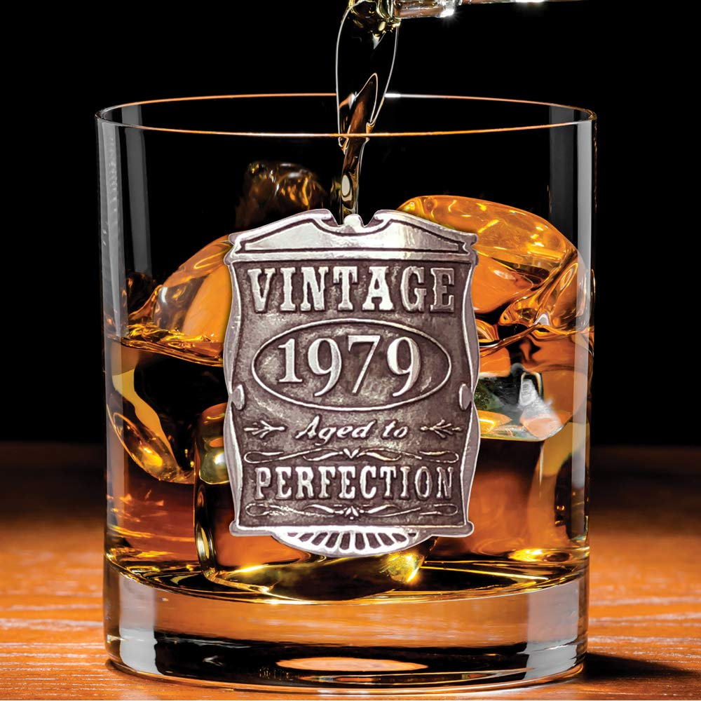 Unique Gift Idea For Men VIN004 English Pewter Company Vintage Years 1979 40th Birthday or Anniversary Old Fashioned Whisky Rocks Glass Tumbler