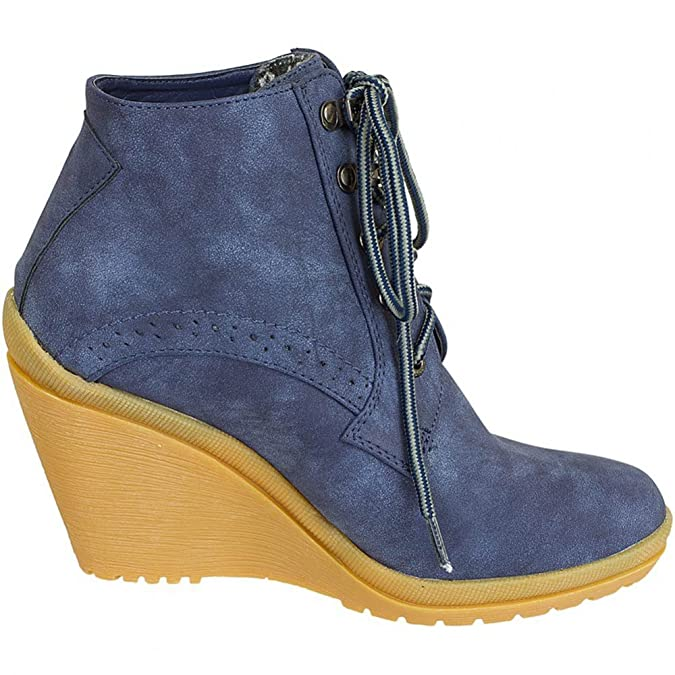 Refresh Women Wedge Tie Ankle Boots 61502, Größe:35;Farbe:navy:  Amazon.co.uk: Shoes & Bags