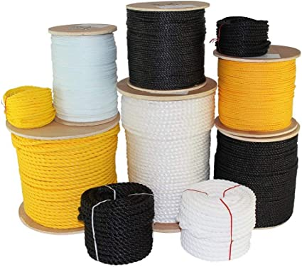 and Heavy Loads Alkali 10 ft - 1200 ft Chemical Black or White Multipurpose Utility Line and Weather Resistant Towing SGT KNOTS Twisted Nylon Rope 1//4 inch - 2 inch Dock Lines Crafts
