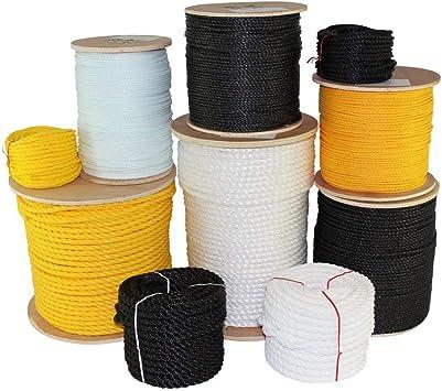 Black Poly Polypropylene Rope 3 Strand Twisted 3//16 1//4 5//16 3//8 1//2 600 1200
