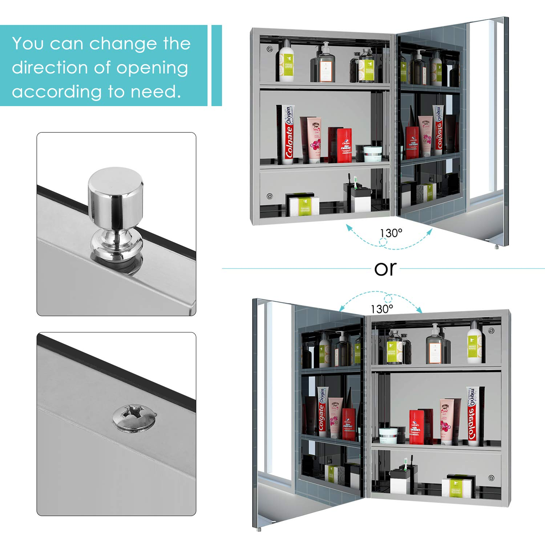 Homfa Spiegelschrank Edelstahl Badezimmerspiegel Badspiegel Wandschrank f/ürs Bad Wasserdicht 45x60x13cm