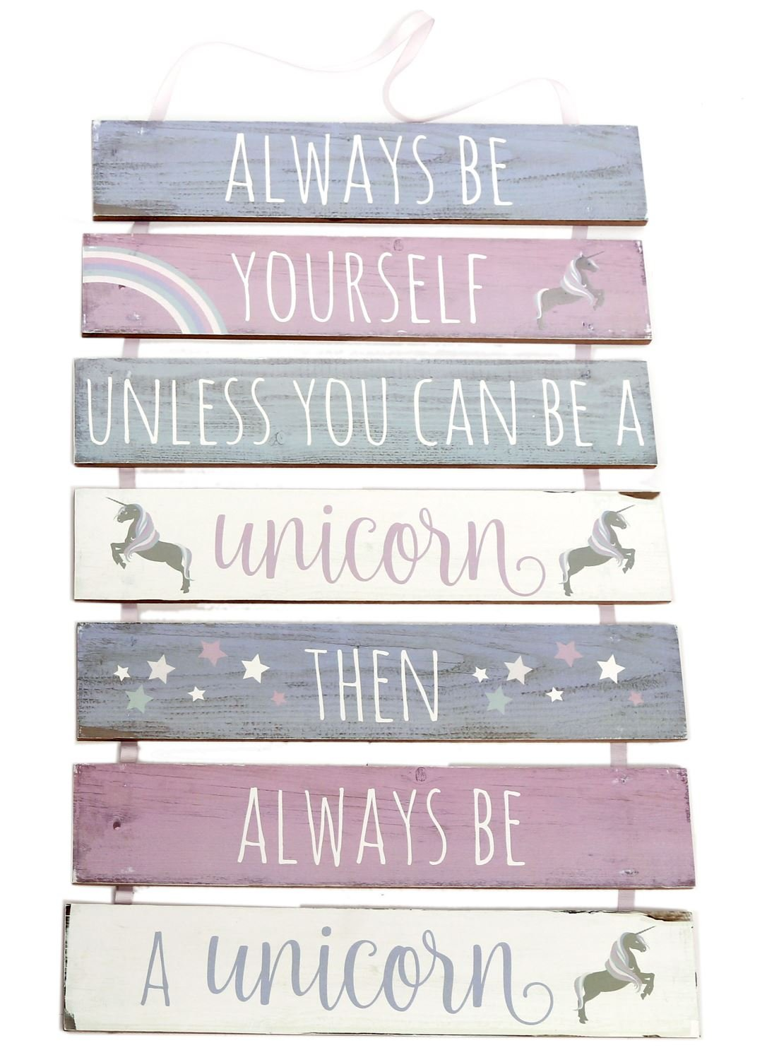 7 Tier Hanging Wooden Unicorn Plaque Sign ~ Always Be Yourself Carousel Home