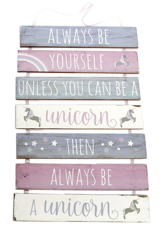 Pancarte en bois à suspendre licorne à 7 niveaux ~ Always Be Yourself Carousel Home