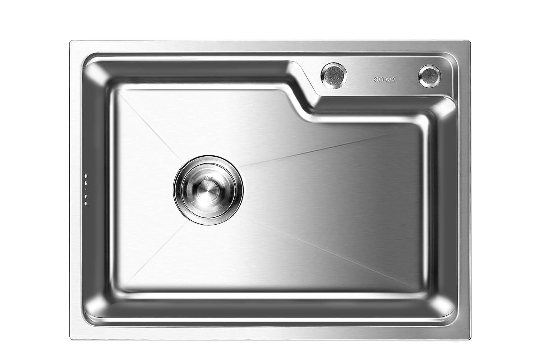Auralum /Évier de dessin de fil dacier inoxydable 45 x 35 x 22CM /Évier Simple avec Egouttoir sans Trous de Montage sans Robinet pour la Cuisine Garantie de 2 Ans