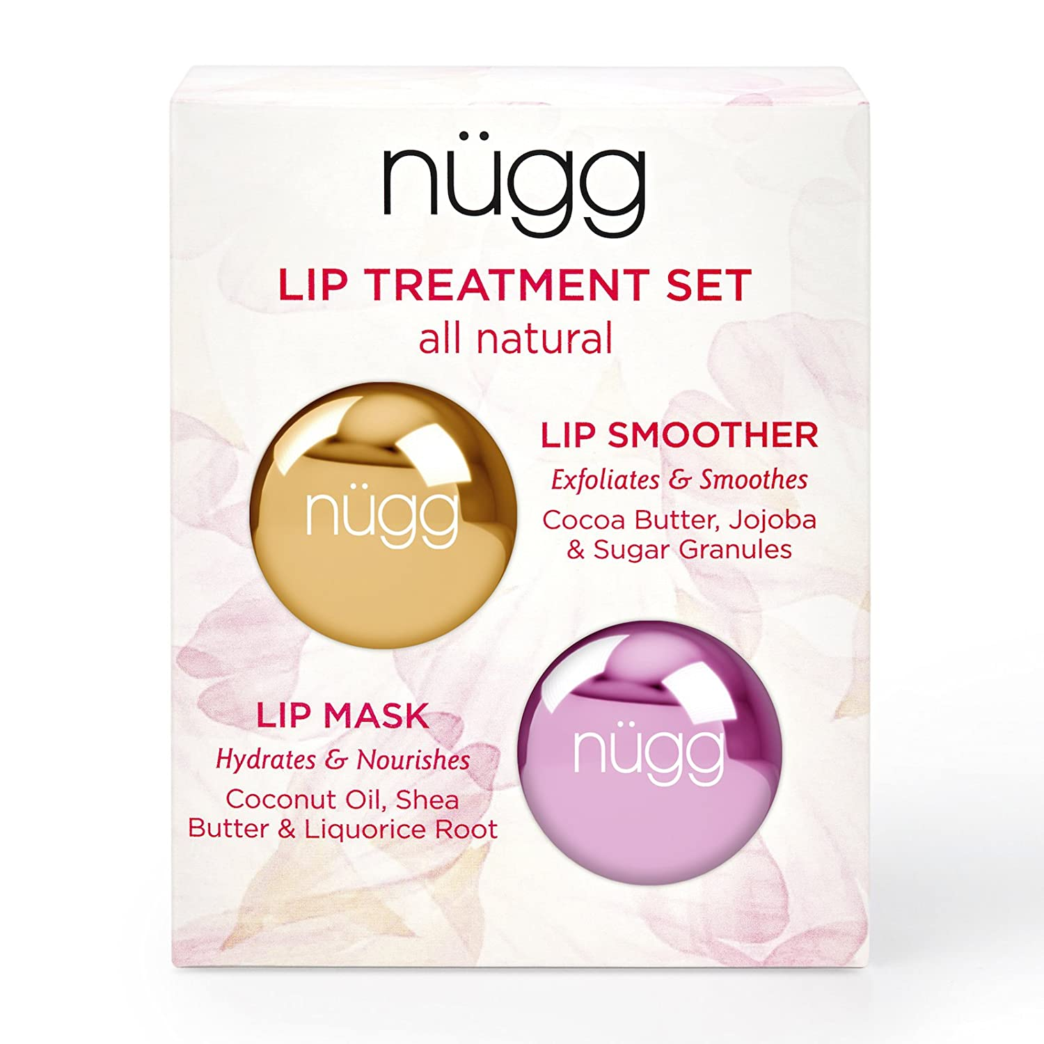 nugg nügg Lip Care Treatment Set for Dry Chapped Lips; Includes All Natural and Vegan Exfoliating Lip Scrub and Moisturizing Lip Mask; 2 x 7g (2 x 0.24 oz)