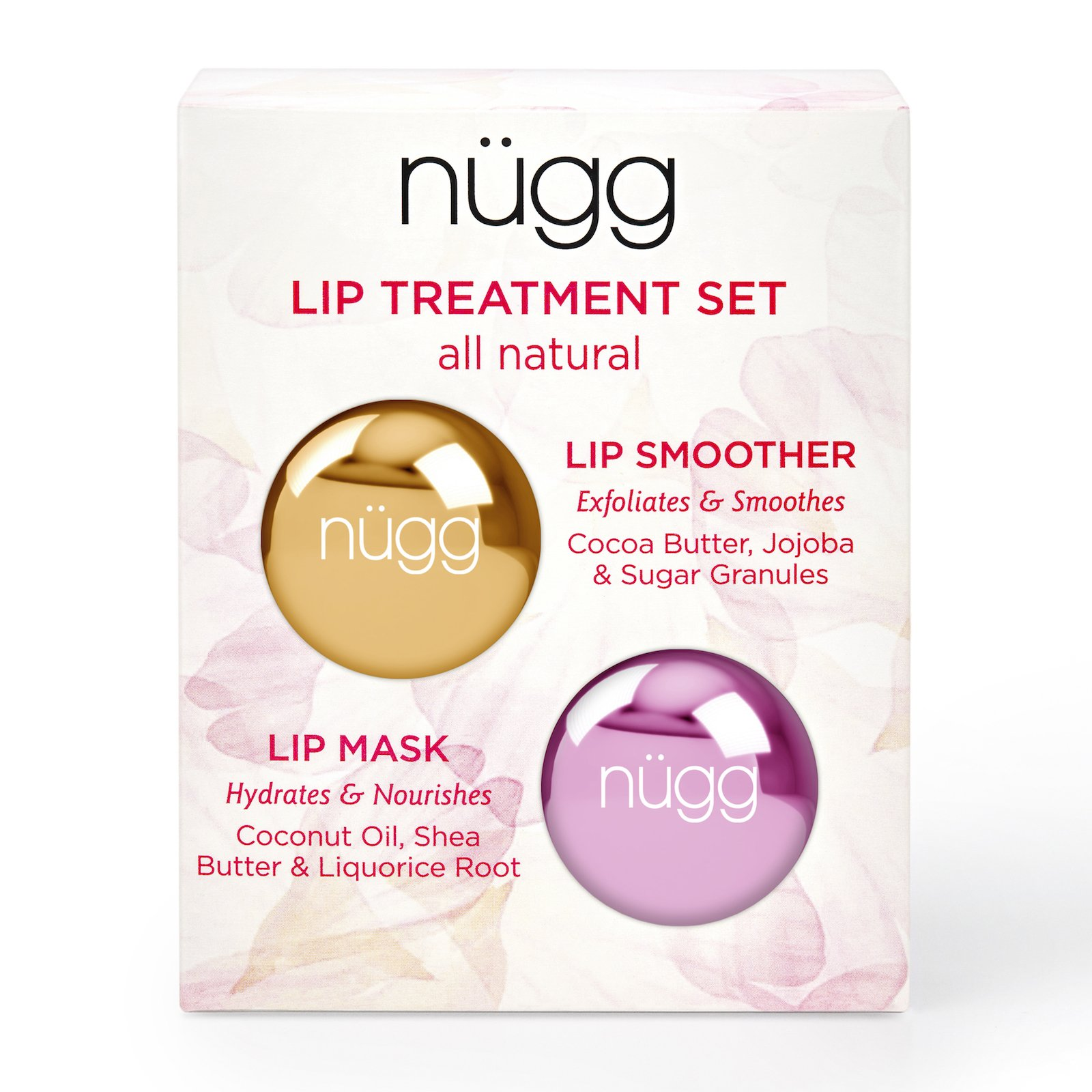 nügg Lip Care Treatment Set for Dry, Chapped Lips; Includes All Natural and Vegan Exfoliating Lip Scrub and Moisturizing Lip Mask; 2 x 7g (2 x 0.24 oz) by