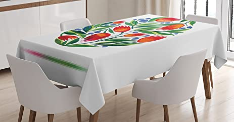 Amazoncom Ambesonne Watercolor Flower Decor Tablecloth Easter Egg - Rectangular tulip table