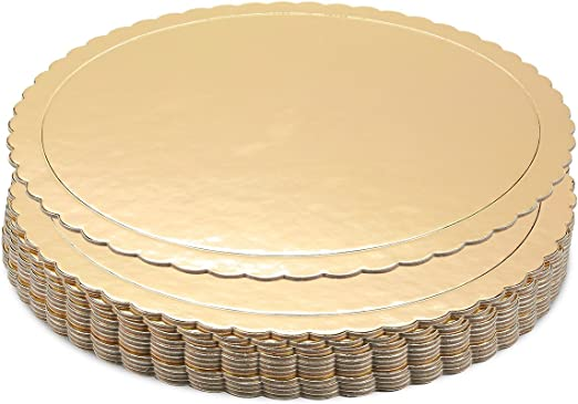 Corrugated Paper Cardboard Round Board Pack of 12 Made in USA Round 6 inch Gold Laminated Cake Circle