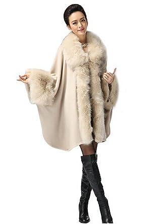 e8c4c0e54d0 Women s Faux Fox Fur Trim Cape Wool Blend Cloak Winter Warm Coat Plus Size  (beige