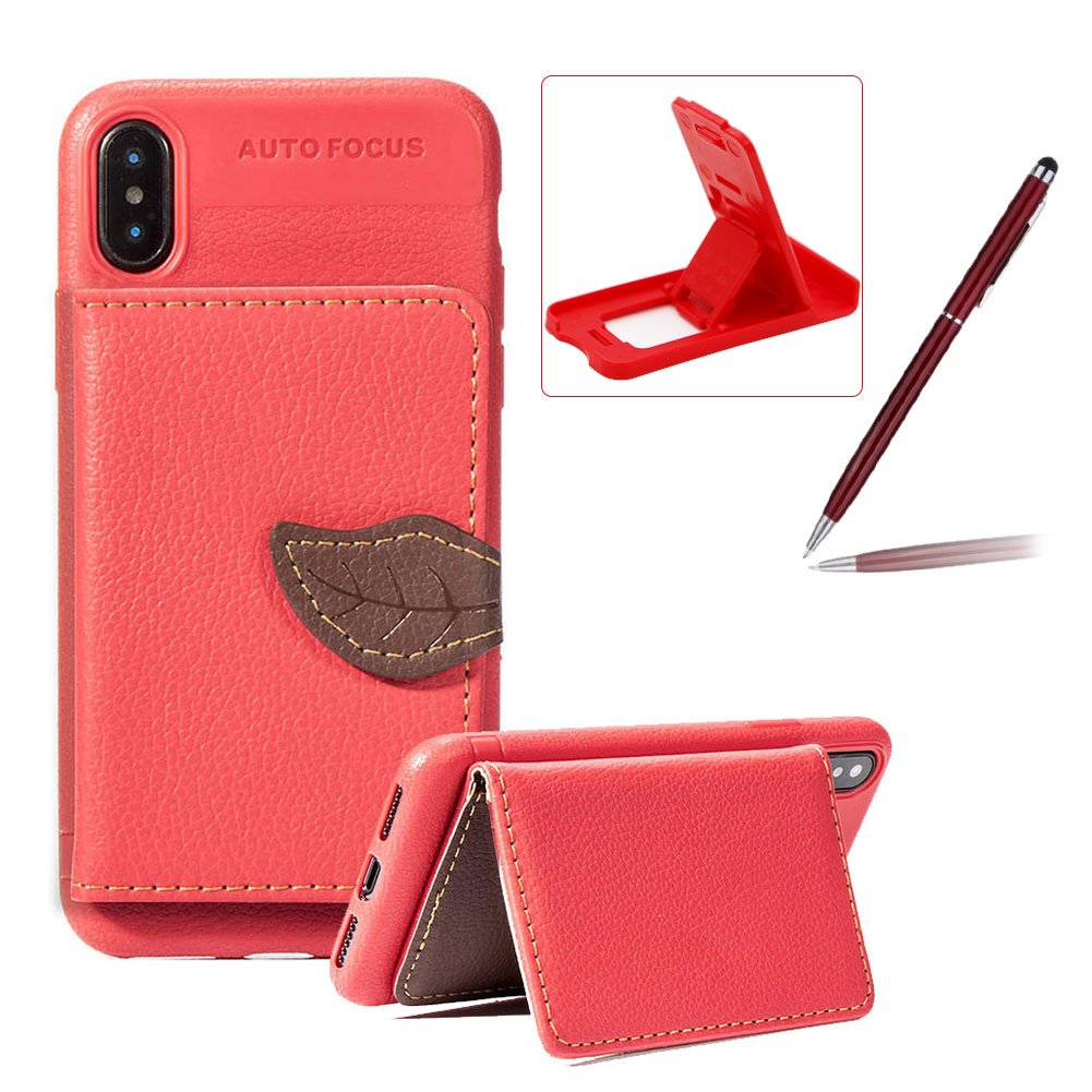 Red Wallet Case for iPhone XS/iPhone X, Slim Fit Leather Case for iPhone XS/iPhone X, Herzzer Stylish Leaf Magnetic Closure Card Slots Stand Shockproof Folio Flip Defender Heavy Duty Back Case