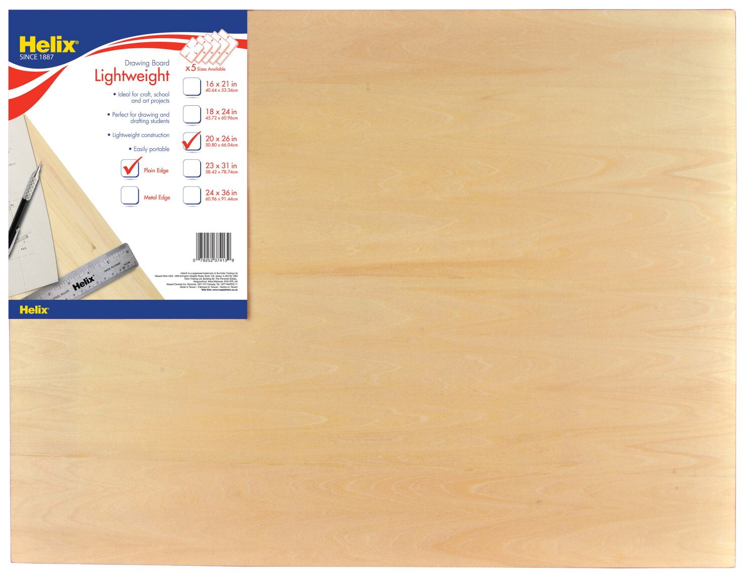 Helix Drawing Board 20 Inch x 26 Inch Plain Edge 37413