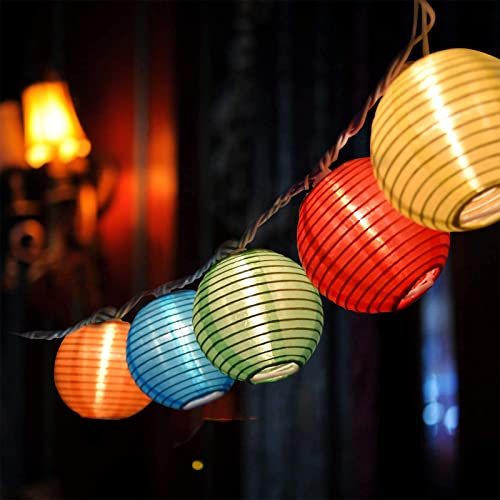 Goothy 10 Pack Multicolor Lantern String Lights 8.5FT Plus 4 Extra Bulbs Handing Mini Incandescent Lanterns String Lights for Camping, Wedding, Garden, Backyard, Party