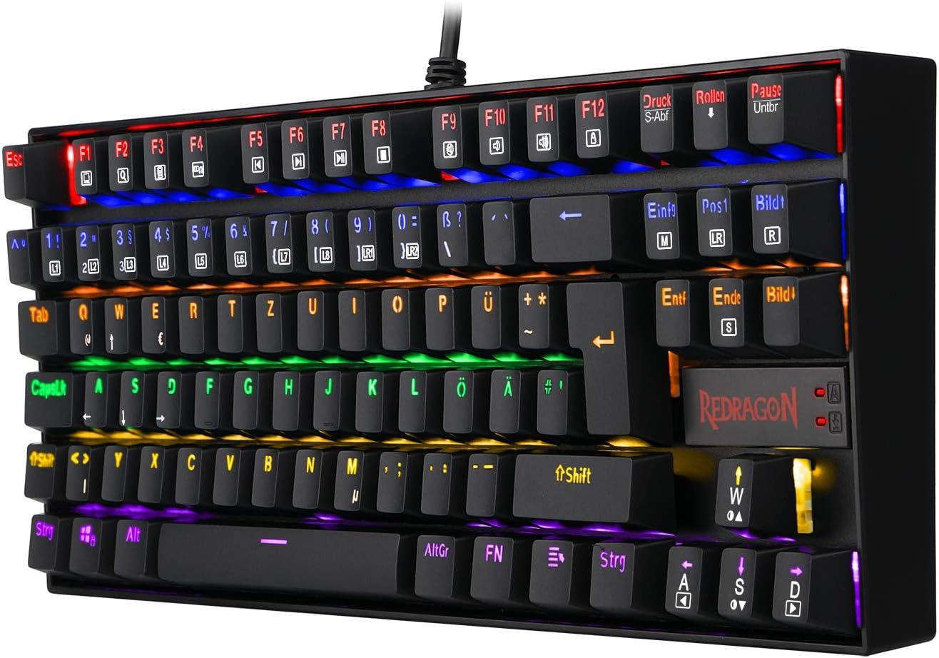 Redragon K552 Mechanische Gaming Tastatur 60% Mini TKL Keyboard mit Rote Schalter 87 Tasten für PC Gaming (Rainbow Beleuchtet - DE QWERTZ)