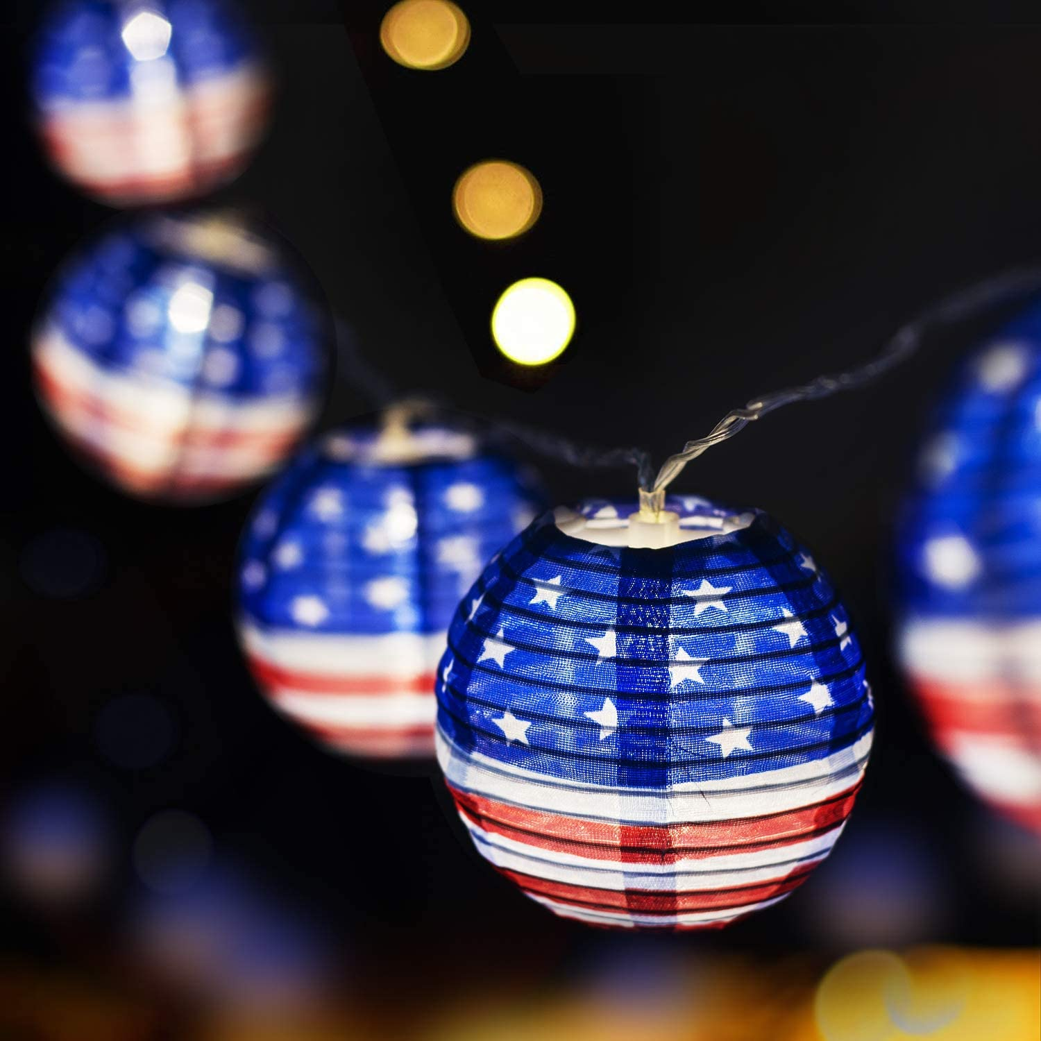 Makion 4th of July Patriotic Decorations String Lights, 2.5M/8.2FT 10 LED Red White and Blue USA Flag Fabric Lanterns décor for Home Garden Independence Day Party Decor Supplies (Battery Powered)