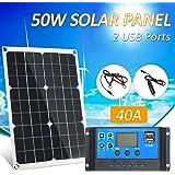 Galapara Kit de Panel Solar Flexible policristalino de Doble Salida con 2 Puertos USB 50W DC 5V / 18V y Carga para automóvil 12V / 24V Controlador de Carga Solar Regulador Inteligente PWM