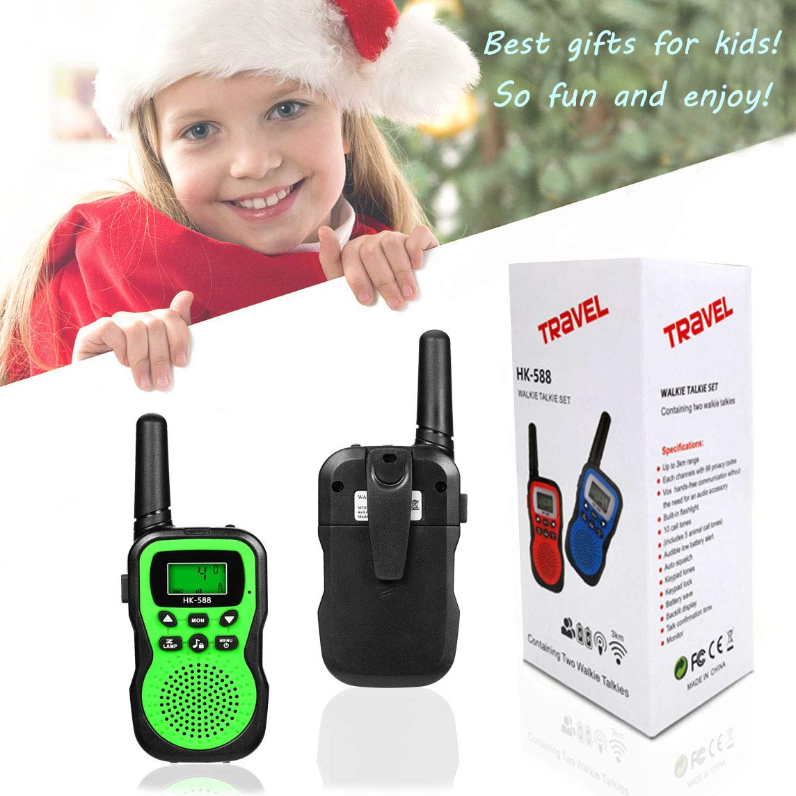 Best Gifts for Kid, JRD&BS WINL Toys Walkie Talkies for Kid,Fun Toys for 4-5 Year Old Boys,Kid Toys for 6-10 Year Old Travel Hunting,HK-588 1 Pair(Green) by JRD&BS WINL (Image #7)