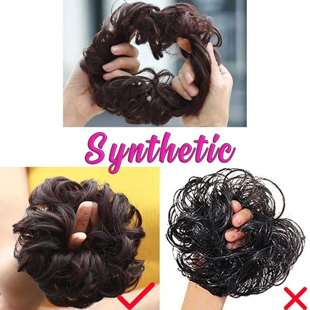 LLguz Hair Wig,Thick Curly Messy Wavy Synthetic Hairpieces Breathable Adjustable Reusable Washable Updo Hair Pieces Bun Extensions Scrunchies Circle Elastics for Women Ladies