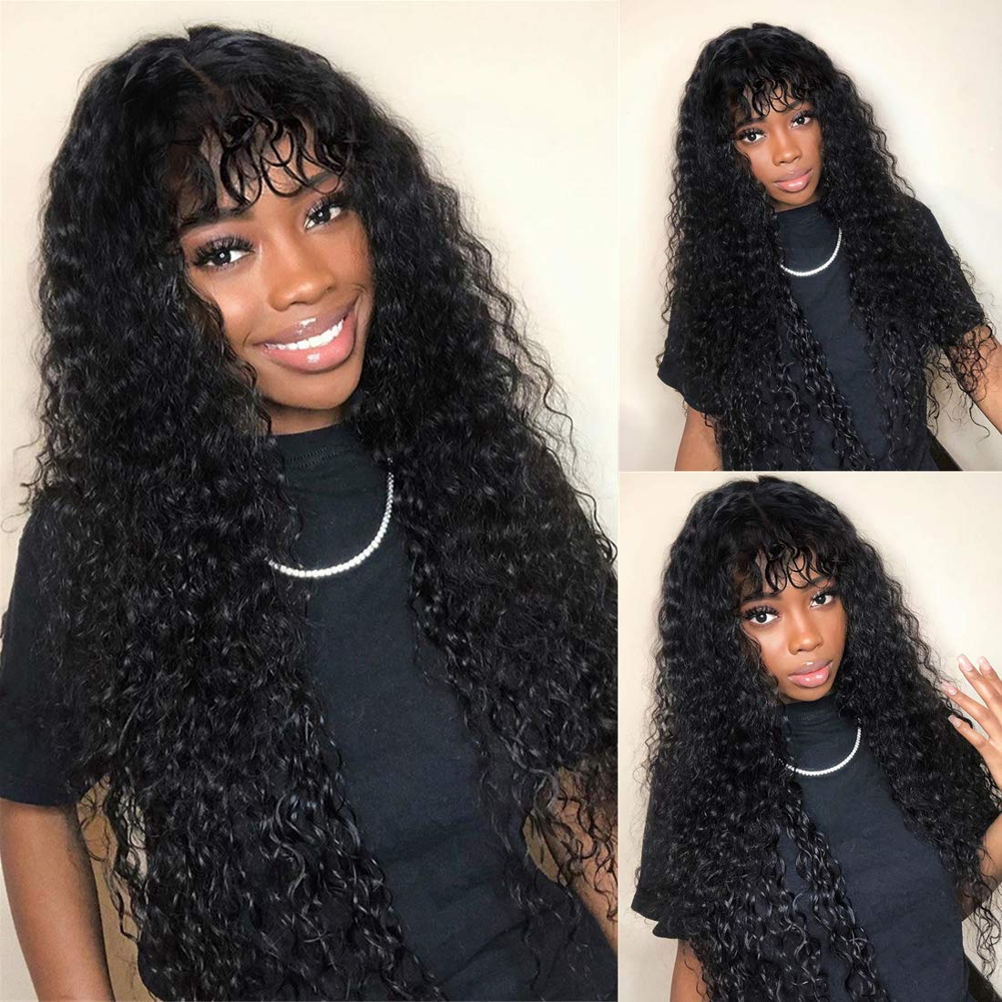 Beaufox Hair Water Same day shipping Wave Wigs With Wi Super intense SALE Bangs Glueless Made Machine