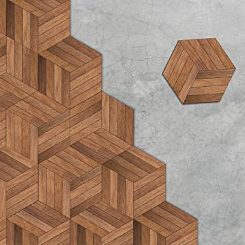 Apsoonsell Hexagon Dark Wood Floor Tile Stickers Rustic Wood Wall