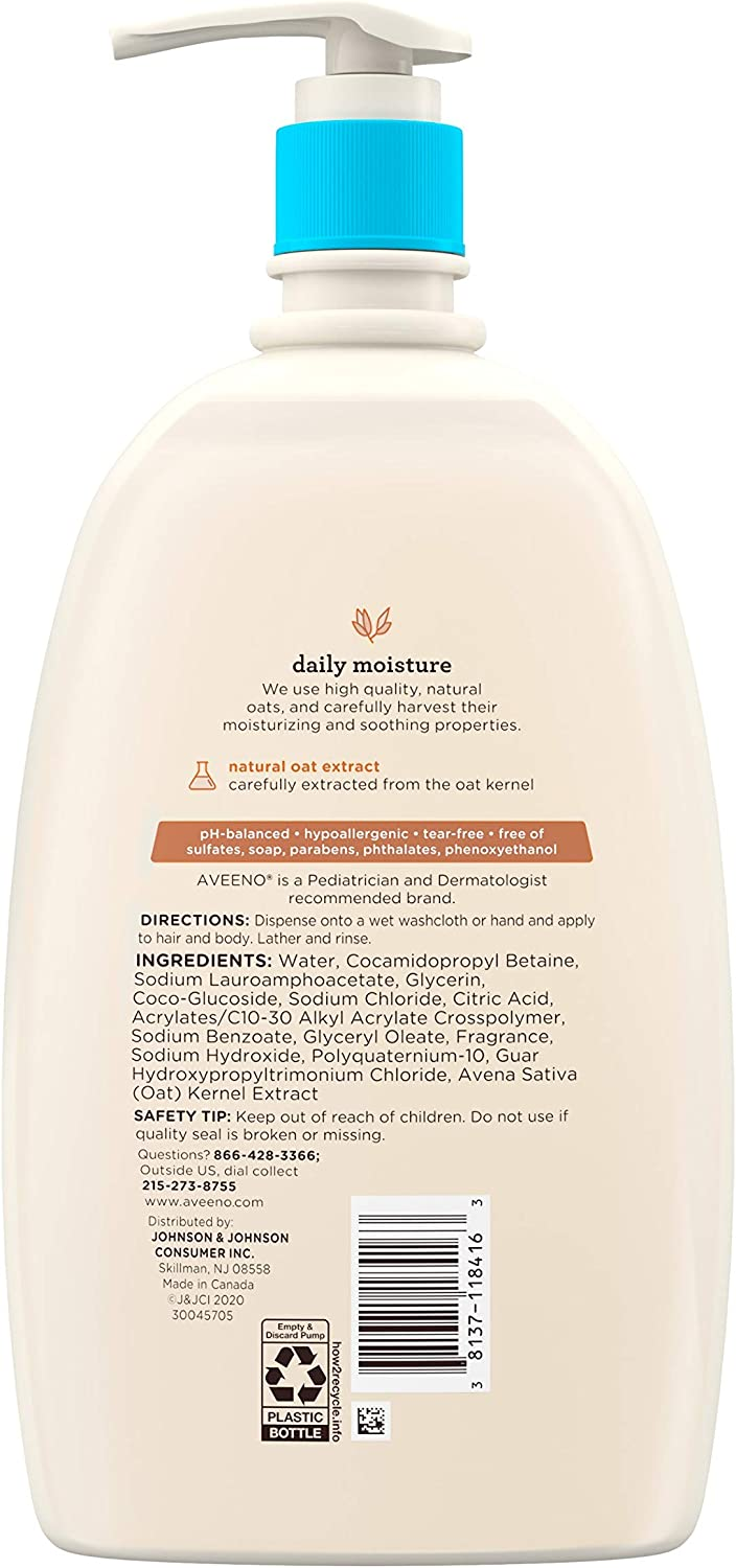 Aveeno Baby Gentle Wash & Shampoo with Natural Oat Extract, Tear-Free & Paraben-Free Formula for Hair & Body, Lightly Scented, 33 fl. oz