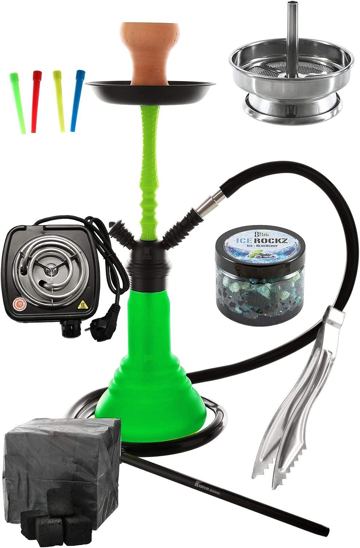 Kaya Neon SPN 480 Set Completo con e-calentador Boquillas desechables Accesorio de chimenea tenazas de carbón (Verde)